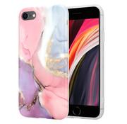 ShieldCase® Lovely Lila Marmer iPhone SE 2020  hoesje (lila/roze)