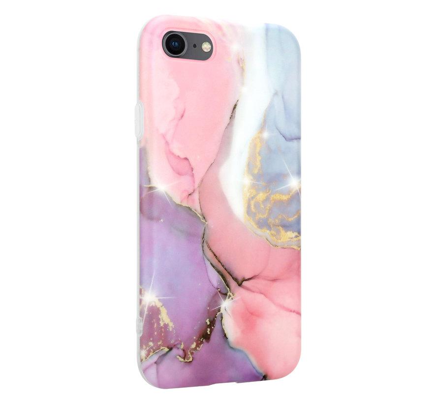 ShieldCase Lovely Lila Marmer iPhone SE 2020 hoesje (lila/roze)