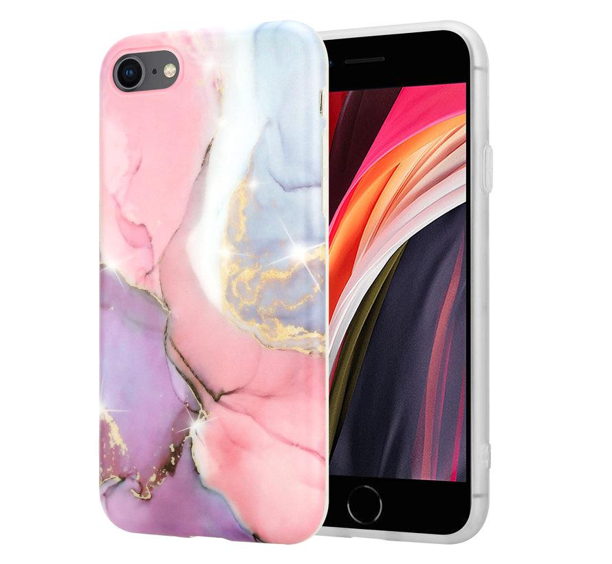 ShieldCase Lovely Lila Marmer  iPhone 7 / 8 hoesje (lila/roze)