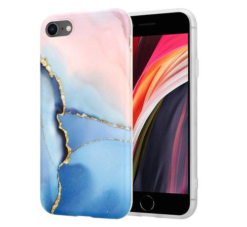 ShieldCase® ShieldCase iPhone SE 2020 hoesje marmer (roze/blauw)