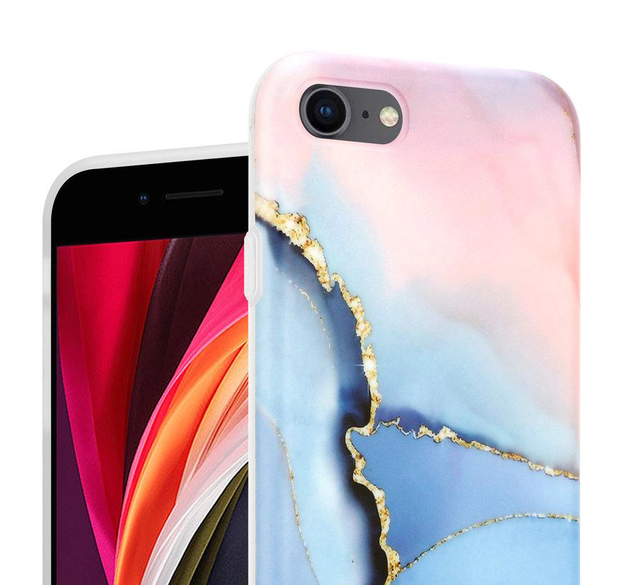 ShieldCase iPhone SE 2020 hoesje marmer (roze/blauw)