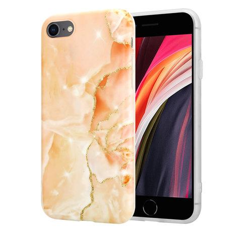 ShieldCase® ShieldCase iPhone SE 2020 hoesje marmer (oranje)