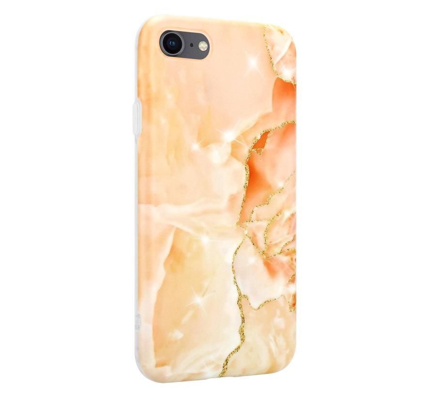 ShieldCase iPhone SE 2020 hoesje marmer (oranje)