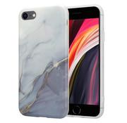 ShieldCase® Grey Anyway Marmer iPhone SE 2020  hoesje (wit/grijs)