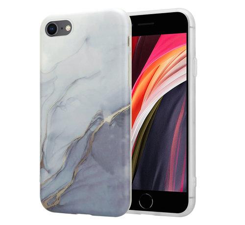 ShieldCase® ShieldCase iPhone SE 2020 hoesje marmer (wit/grijs)