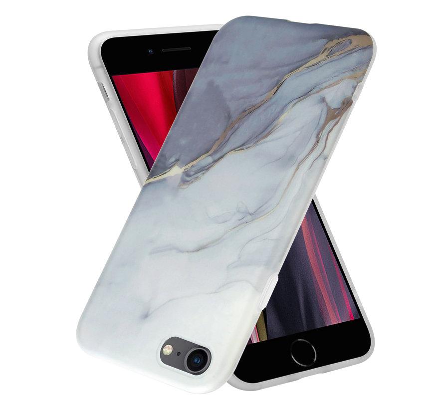 ShieldCase iPhone SE 2020 hoesje marmer (wit/grijs)