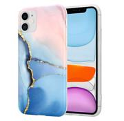 ShieldCase® iPhone 11 hoesje marmer (roze/blauw)
