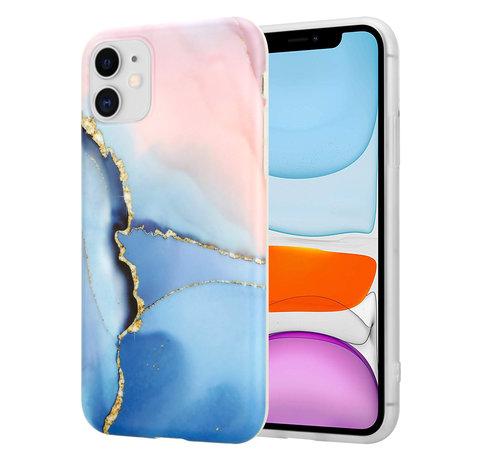ShieldCase® ShieldCase iPhone 11 hoesje marmer (roze/blauw)