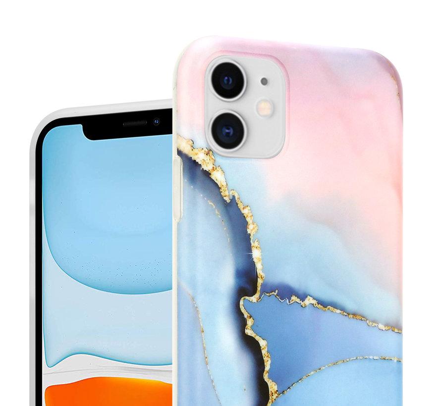 ShieldCase Magical Gold Marmer iPhone 11 hoesje (roze/blauw)