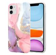 ShieldCase® iPhone 11 hoesje marmer (lila/roze)