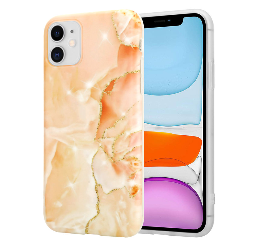 ShieldCase iPhone 11 hoesje marmer (oranje)