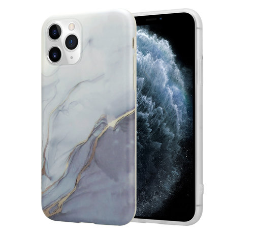 ShieldCase® ShieldCase Marmeren iPhone 11 Pro Max hoesje (wit/grijs)