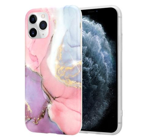ShieldCase® ShieldCase Marmeren  iPhone 11 Pro Max hoesje (lila/roze)