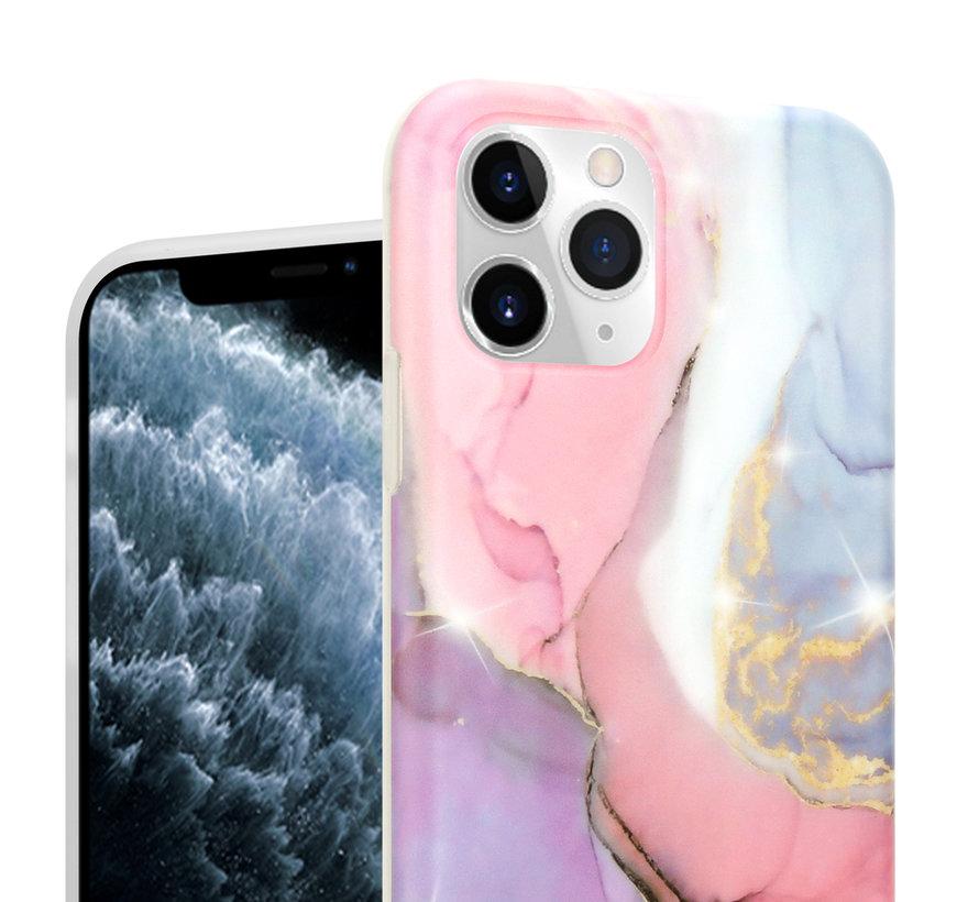 ShieldCase Marmeren  iPhone 11 Pro Max hoesje (lila/roze)