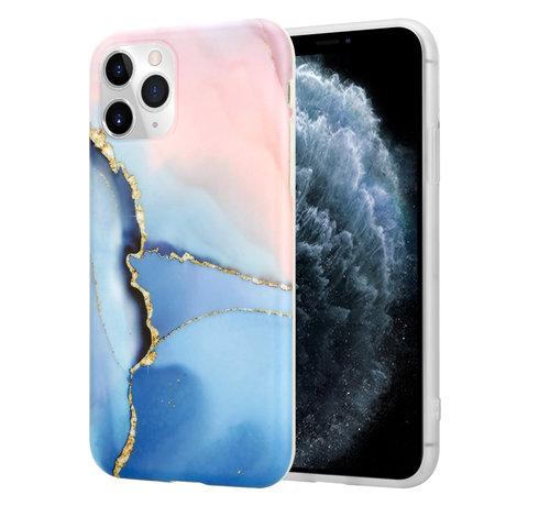 ShieldCase® ShieldCase Marmeren iPhone 11 Pro Max hoesje (roze/blauw)