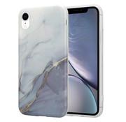 ShieldCase® iPhone Xr hoesje marmer (wit/grijs)