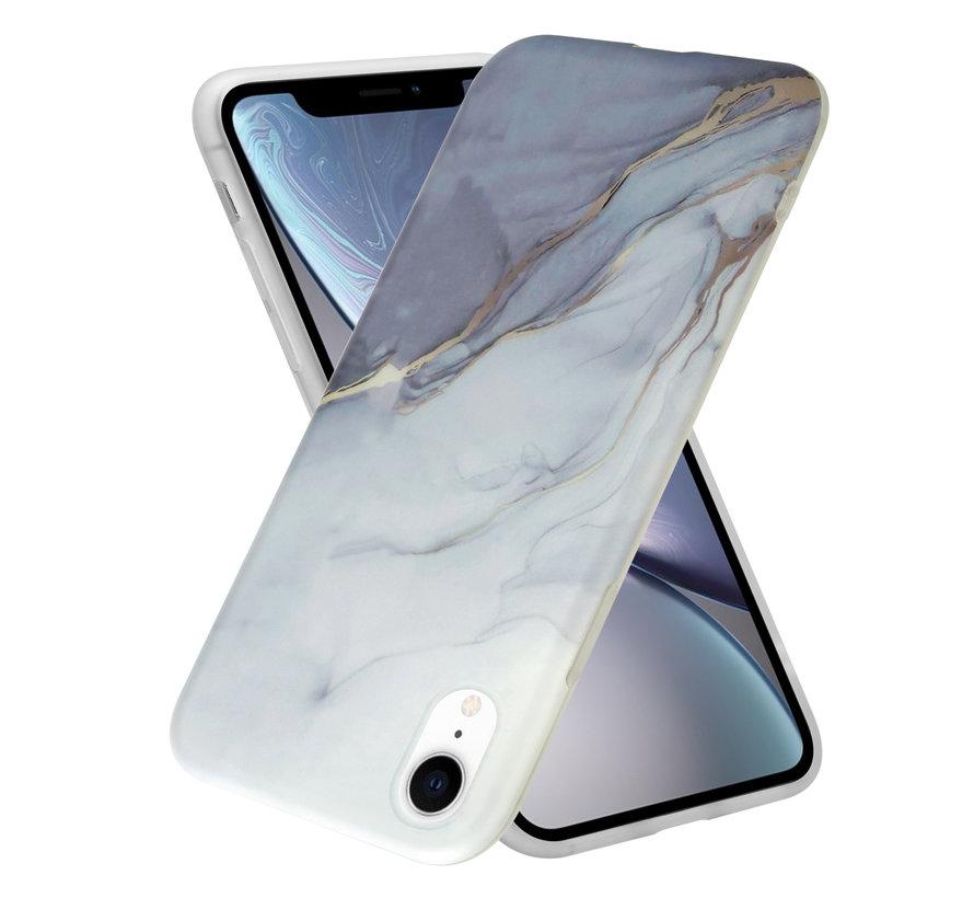 ShieldCase iPhone Xr hoesje marmer (wit/grijs)
