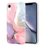 ShieldCase® iPhone Xr hoesje marmer (lila/roze)