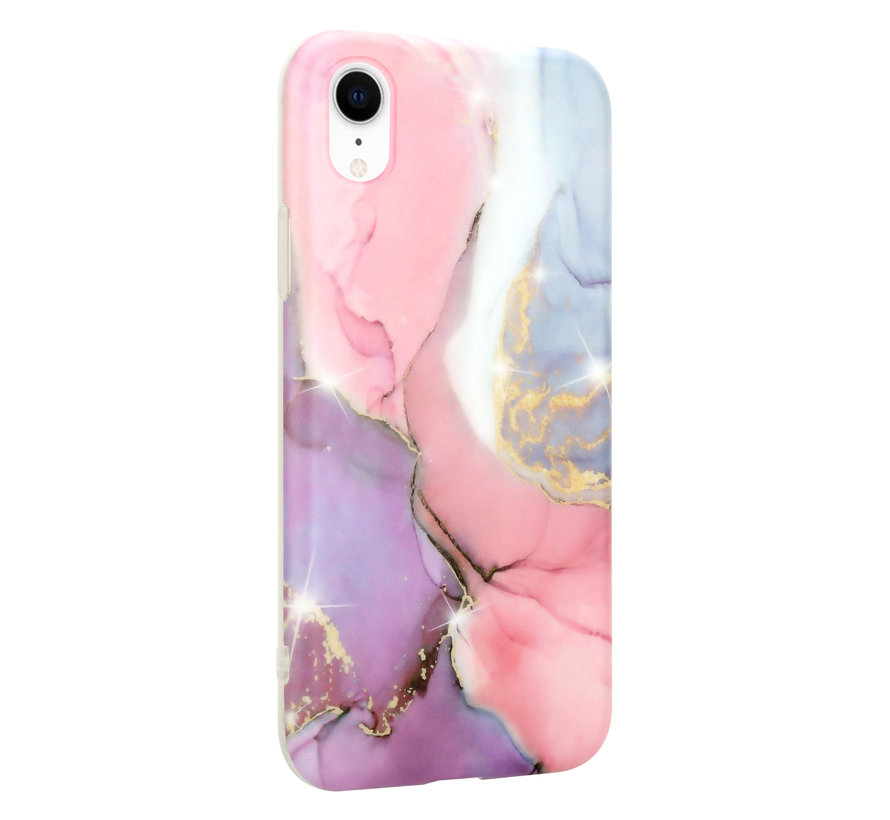 ShieldCase iPhone Xr hoesje marmer (lila/roze)
