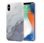 ShieldCase® iPhone X / Xs hoesje marmer (wit/grijs)