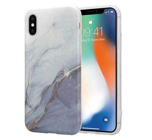 ShieldCase® ShieldCase Grey Anyway Marmer iPhone X / Xs hoesje (wit/grijs)