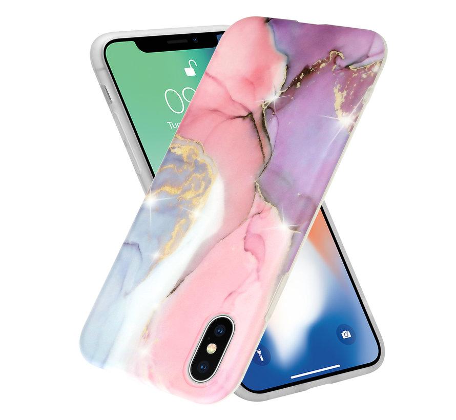 ShieldCase Lovely Lila Marmer  iPhone X / Xs hoesje (lila/roze)