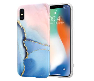 ShieldCase® iPhone X / Xs hoesje marmer (roze/blauw)
