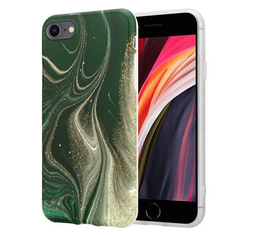 ShieldCase® ShieldCase Marmeren iPhone 7/ 8 hoesje met camerabescherming (groen)