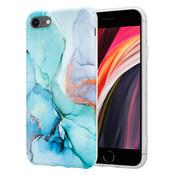 ShieldCase® Marmeren iPhone SE 2020 hoesje met camerabescherming (groen/blauw)