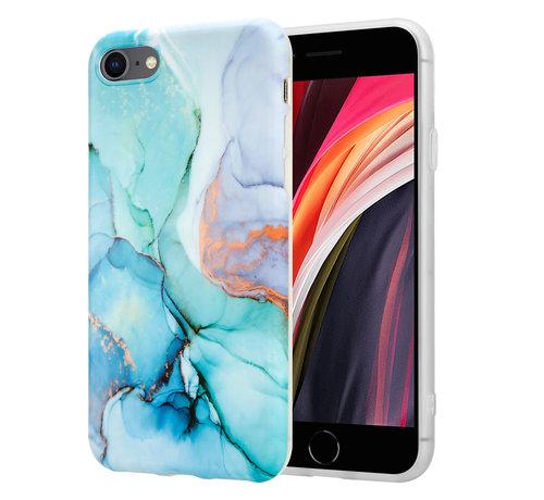 ShieldCase® ShieldCase Marmeren iPhone SE 2020 hoesje met camerabescherming (groen/blauw)