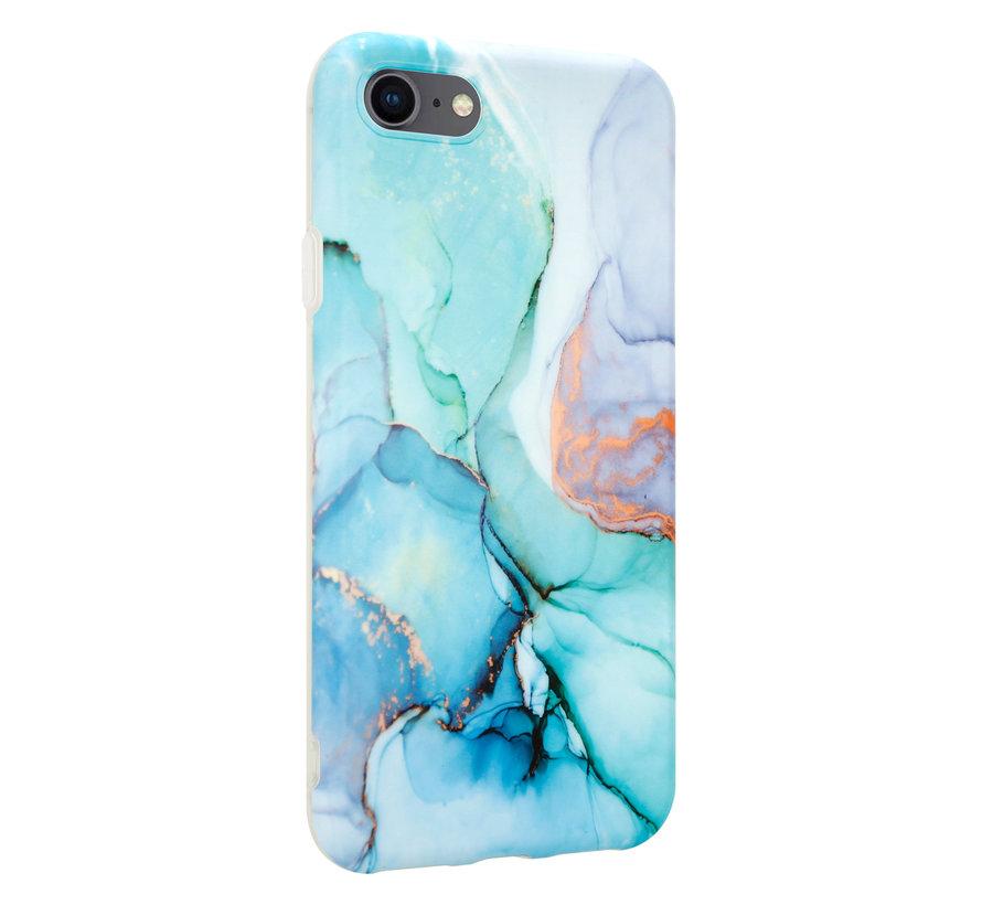 ShieldCase Marmeren iPhone SE 2020 hoesje met camerabescherming (groen/blauw)