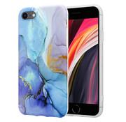 ShieldCase® Marmeren iPhone SE 2020 hoesje met camerabescherming (donkerblauw)