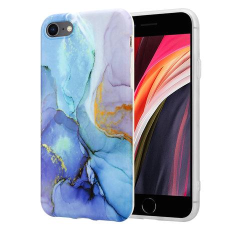 ShieldCase® ShieldCase Marmeren iPhone SE 2020 hoesje met camerabescherming (donkerblauw)