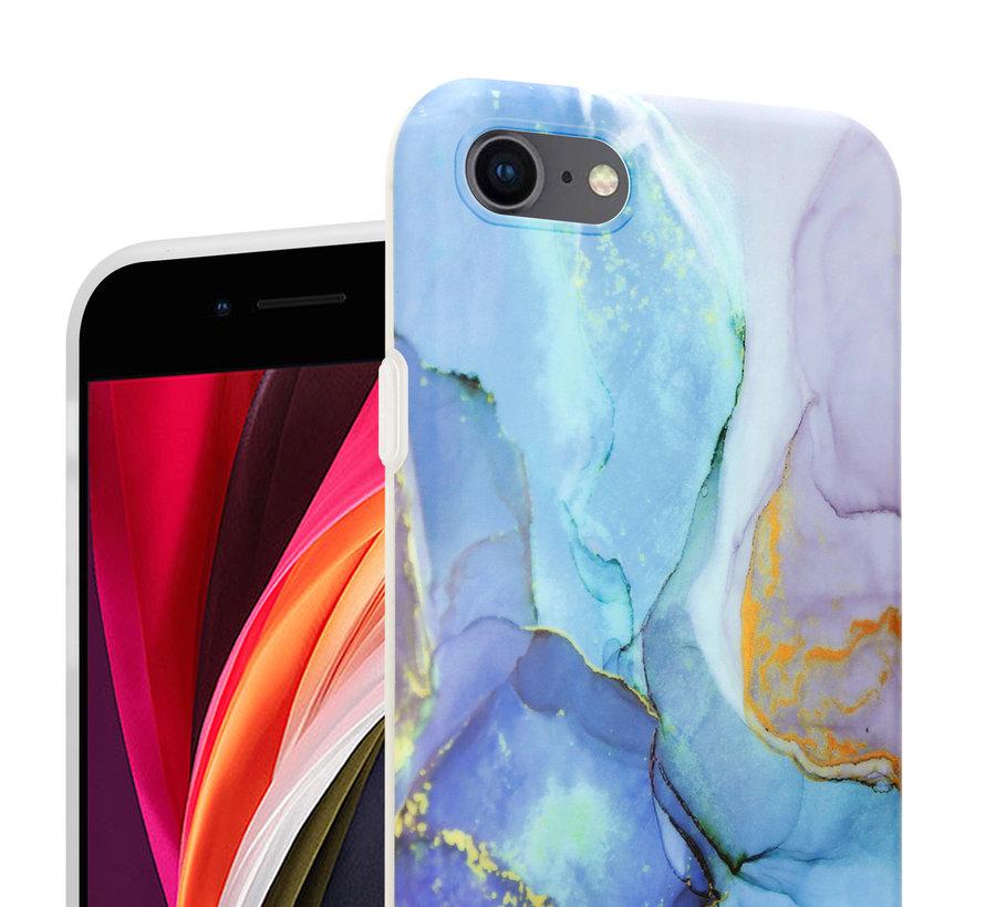 ShieldCase Marmeren iPhone SE 2020 hoesje met camerabescherming (donkerblauw)