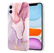 ShieldCase® Marmeren iPhone 11 hoesje met camerabescherming (paars)