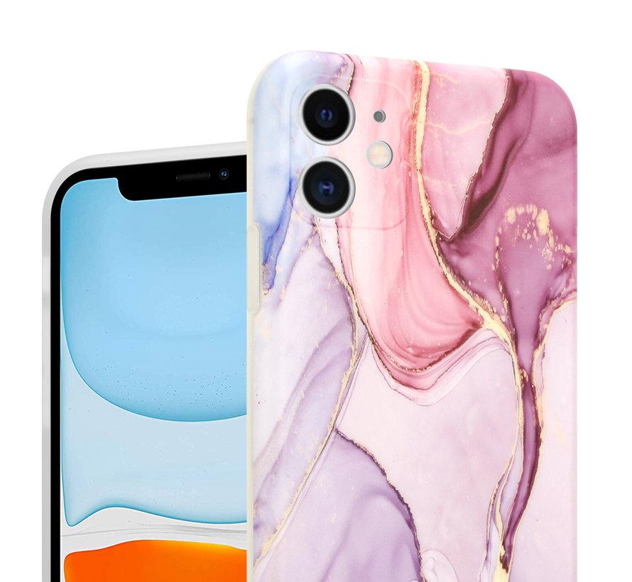 ShieldCase Marmeren iPhone 11 hoesje met camerabescherming (paars)