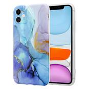 ShieldCase® Marmeren iPhone 11 hoesje met camerabescherming (donkerblauw)