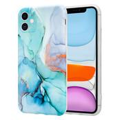 ShieldCase® Marmeren iPhone 11 hoesje met camerabescherming (groen/blauw)