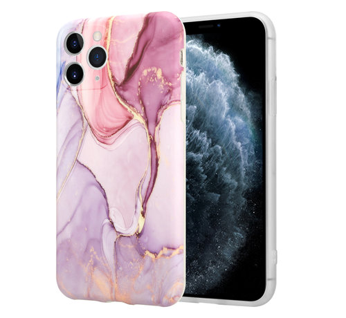 ShieldCase® ShieldCase Marmeren iPhone 11 Pro hoesje met camerabescherming (paars)