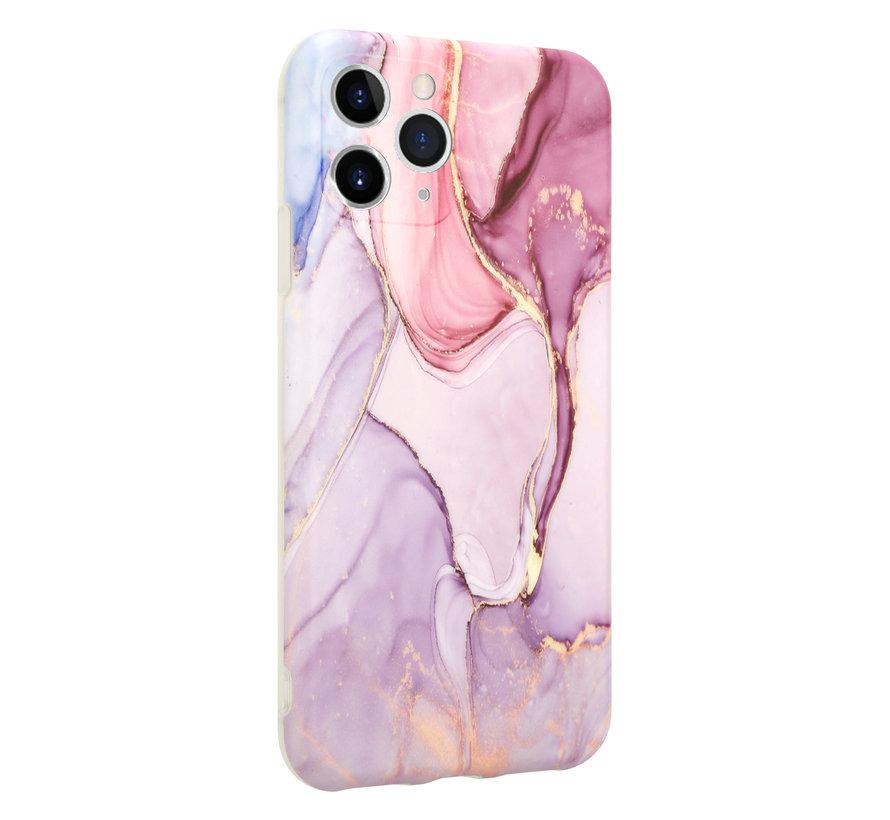 ShieldCase Marmeren iPhone 11 Pro hoesje met camerabescherming (paars)