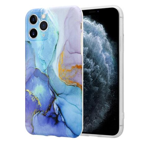 ShieldCase® ShieldCase Marmeren iPhone 11 Pro Max hoesje met camerabescherming (donkerblauw)