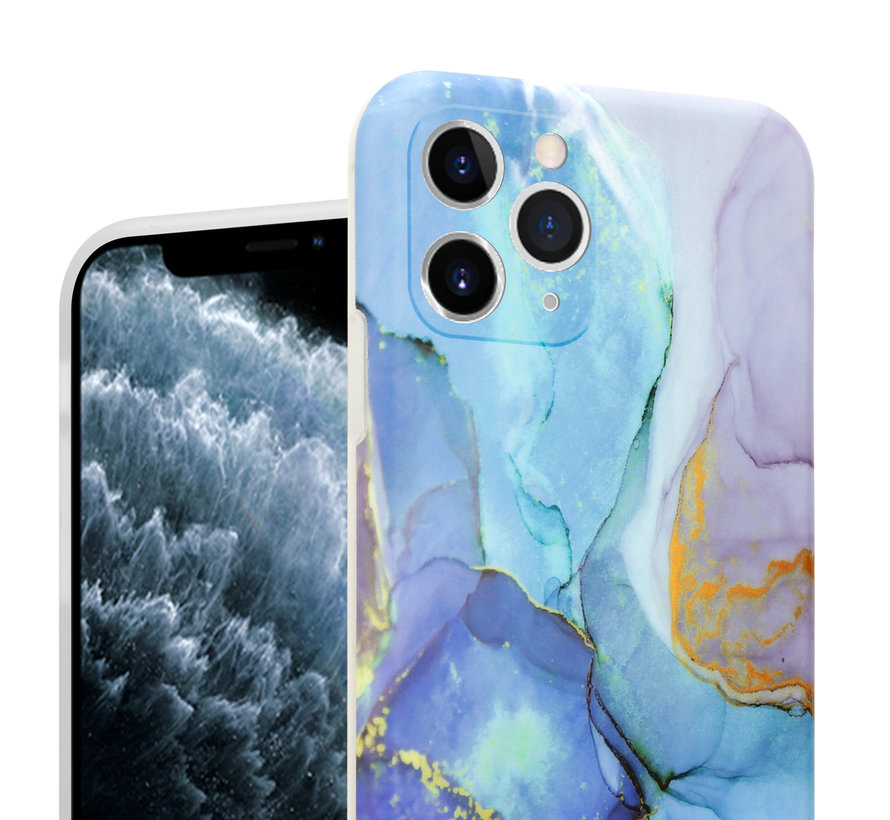 ShieldCase Marmeren iPhone 11 Pro Max hoesje met camerabescherming (donkerblauw)