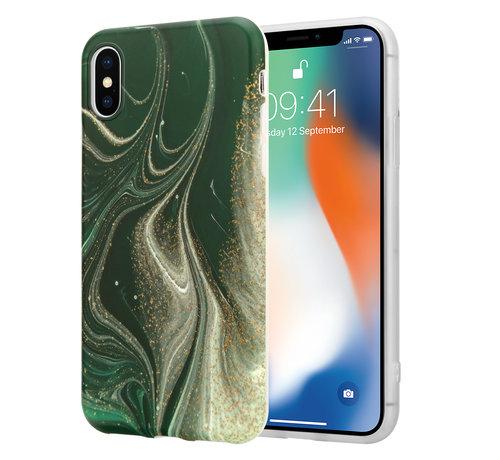 ShieldCase® ShieldCase Marmeren iPhone X / Xs hoesje met camerabescherming (groen)