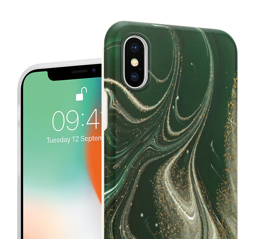 ShieldCase Marmeren iPhone X / Xs hoesje met camerabescherming (groen)