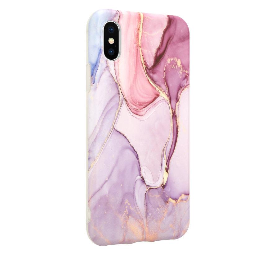 ShieldCase Marmeren iPhone X / Xs hoesje met camerabescherming (paars)