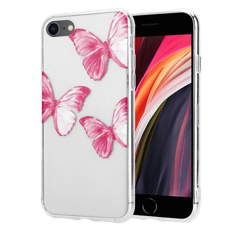 ShieldCase® ShieldCase Pink Butterflies iPhone 7 / 8 / SE 2020 hoesje