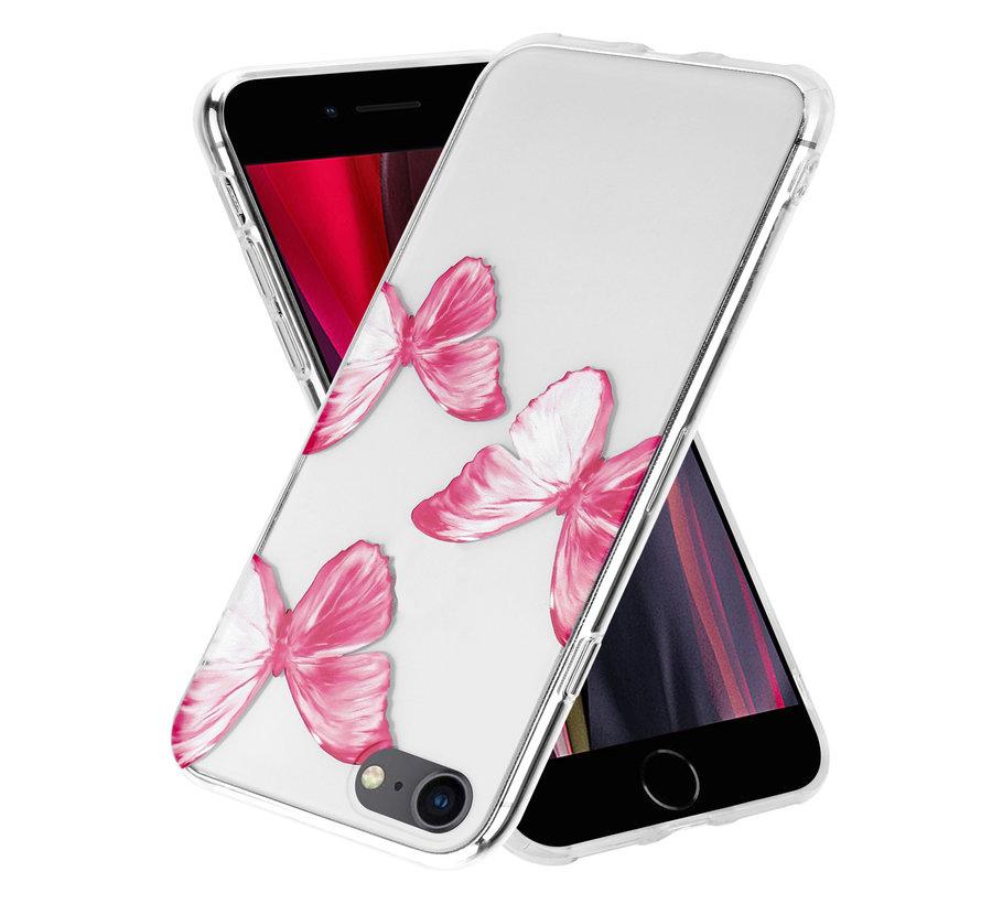ShieldCase Pink Butterflies iPhone 7 / 8 / SE 2020 hoesje