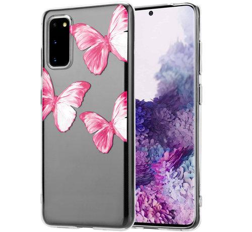 ShieldCase® ShieldCase Pink Butterflies Samsung Galaxy S20  hoesje