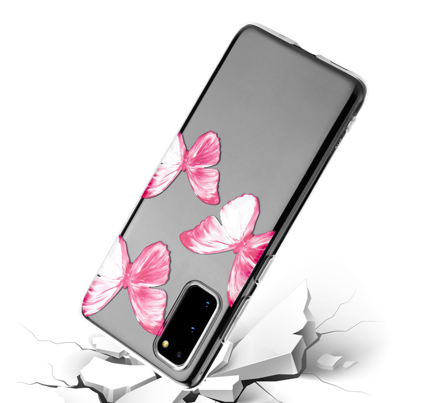 ShieldCase Pink Butterflies Samsung Galaxy S20  hoesje