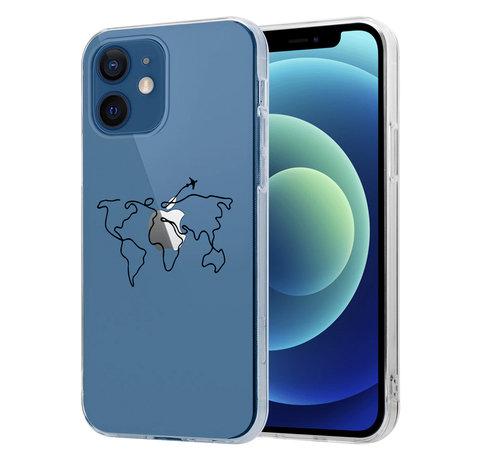ShieldCase® ShieldCase iPhone 12 Mini - 5.4 inch hoesje met atlas/reis patroon
